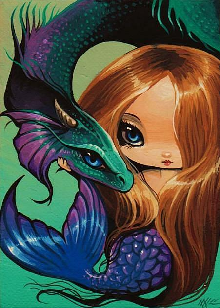 Art: Mermaid and Sea Dragon by Artist Nico Niemi