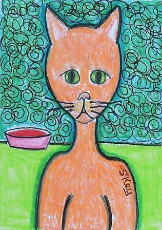 Art: ORANGE U GLAD YUR A CAT! by Artist Sherry Key