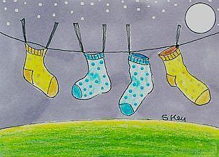Art: Baby Socks At Night by Artist Sherry Key