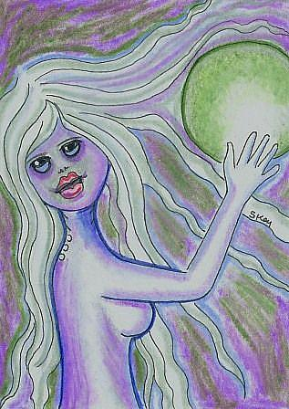 Art: Mermaid With Absinthe Filled Crystal Ball by Artist Sherry Key