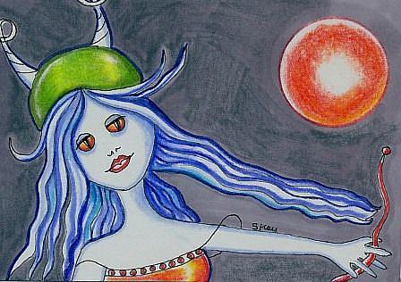 Art: Diana, Dragon Rider Maintenance Tech-Sold by Artist Sherry Key