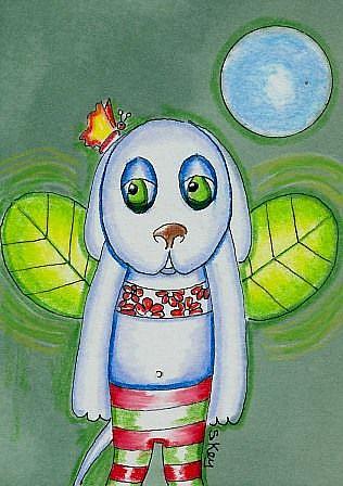 Art: Puppy Flying Dream by Artist Sherry Key