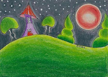 Art: Under A Red Moon-Sold by Artist Sherry Key