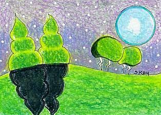 Art: Landscape Blue Moon-Sold by Artist Sherry Key