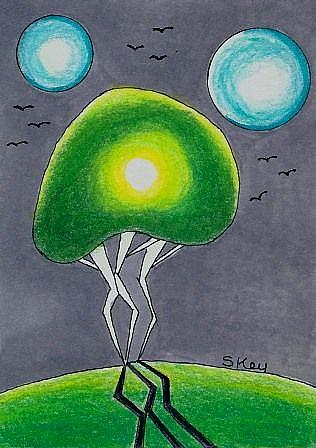 Art: One Tree, Two Moons-Sold by Artist Sherry Key