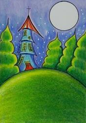 Art: Moonlit Castle-Sold by Artist Sherry Key