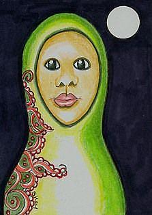 Art: Earth Nesting Doll-29 Faces by Artist Sherry Key