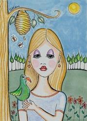 Art: Birding at the Heard by Artist Sherry Key