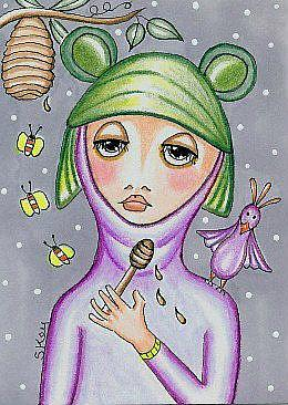 Art: The Bird and the Honey Bee Keeper by Artist Sherry Key