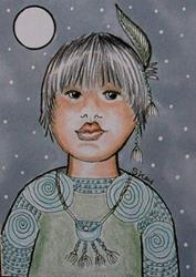 Art: Little Gray Feather-29 Faces by Artist Sherry Key