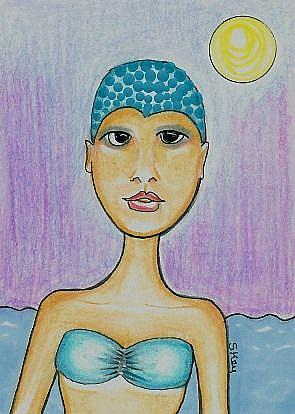 Art: Athletic Swimmer-29 Faces by Artist Sherry Key