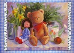 Art: ACEO Dolly & Teddy Bear & Daffodils by Artist Patricia  Lee Christensen
