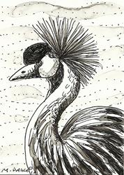 Art: ACEO Crowned Crane by Artist Melinda Dalke