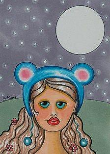 Art: Blue Mouse Ears-Sold by Artist Sherry Key