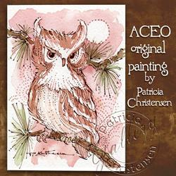 Art: ACEO - Owlet in Pines by Artist Patricia  Lee Christensen