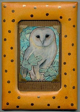 Art: Framed ACEO Fall Owl-Sold by Artist Sherry Key