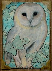 Detail Image for art Framed ACEO Fall Owl-Sold