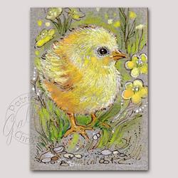 Art: Chick Among Buttercups - ACEO - (Sold) by Artist Patricia  Lee Christensen
