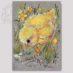 Art: Another Chick Among Buttercups - ACEO (Sold) by Artist Patricia  Lee Christensen