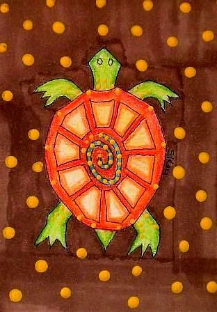 Art: ORANGE SHELL TURTLE by Artist Sherry Key