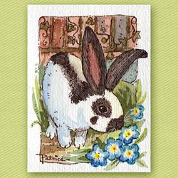 Art: Long Ears Bunny & Blue Flowers - Original ACEO Art by Artist Patricia  Lee Christensen