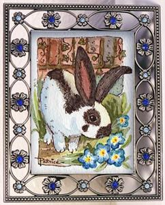 Detail Image for art Long Ears Bunny & Blue Flowers - Original ACEO Art