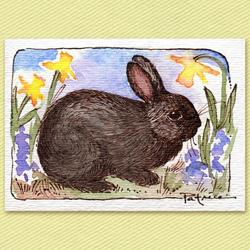 Art: Black Bunny & Daffodils ACEO Original Art by Artist Patricia  Lee Christensen