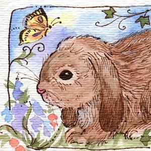 Detail Image for art Lop Ear Bunny & Butterfly Original ACEO Art