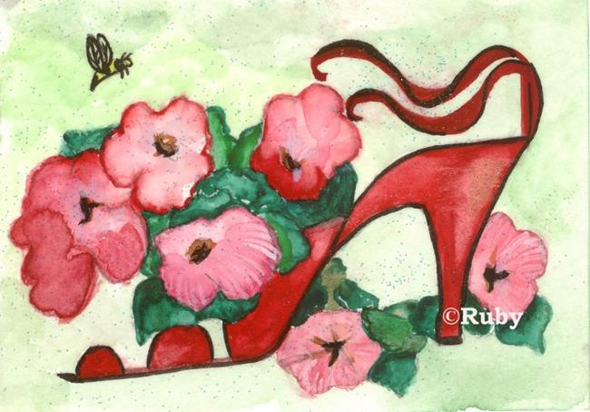 Art: Petunia Shoe by Artist Marcia Ruby