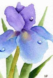 Art: Dewdrop Iris ACEO by Artist Melanie Pruitt