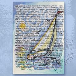 Art: Original ACEO Sailing Watercolor Dictionary Collage ~ Sold by Artist Patricia  Lee Christensen
