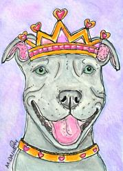 Art: King of Hearts Pit Bull Terrier by Artist Melinda Dalke