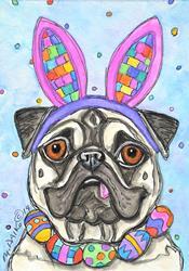 Art: Pugs Bunny by Artist Melinda Dalke