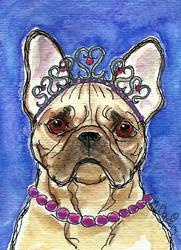Art: Queen of Hearts Frenchie by Artist Melinda Dalke