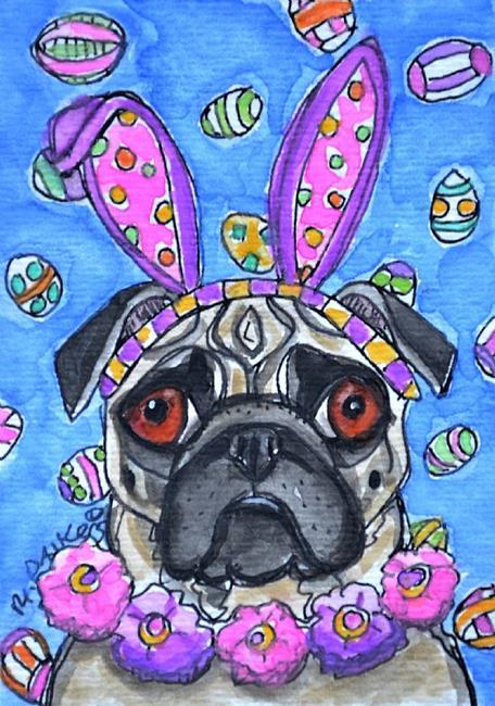 Art: Easter Pug with Flowers by Artist Melinda Dalke