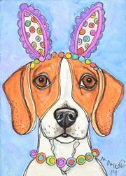 Art: Beagle Bunny by Artist Melinda Dalke