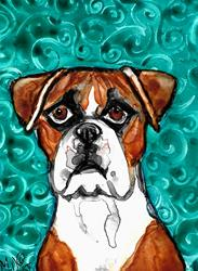 Art: Boxer with Teal Background by Artist Melinda Dalke