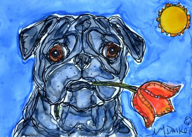 Art: Tulip and Pug by Artist Melinda Dalke
