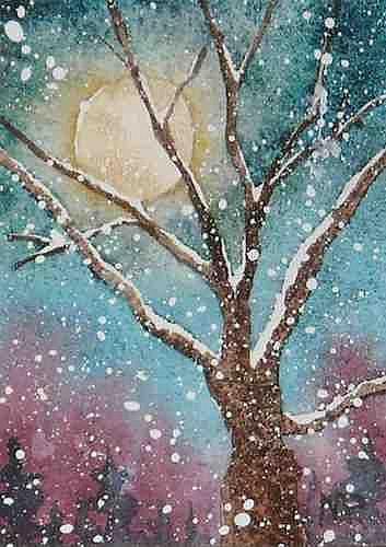 Art: Winter Moon ACEO by Artist Melanie Pruitt