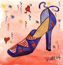 Art: Blue Heart Shoe by Marcia Ruby