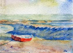 Art: Red boat, Leigh-on-Sea by Artist John Wright