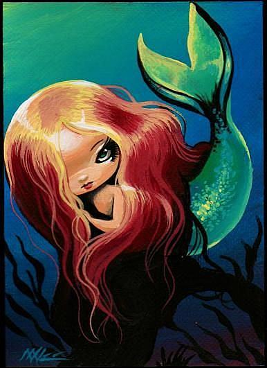 This tiny mermaid is an original acrylic painting on canvas paper.