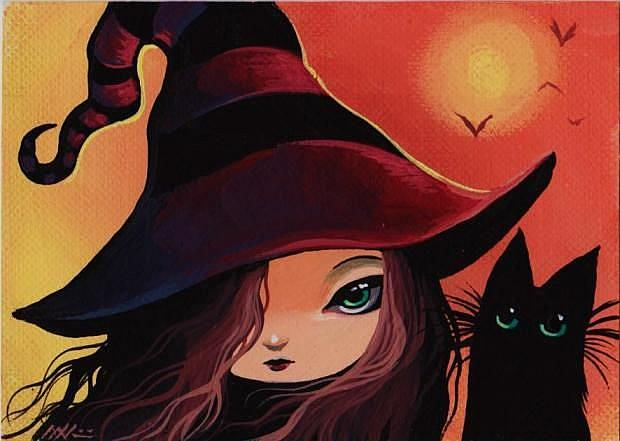 Art: Little Witch and Cat by Artist Nico Niemi
