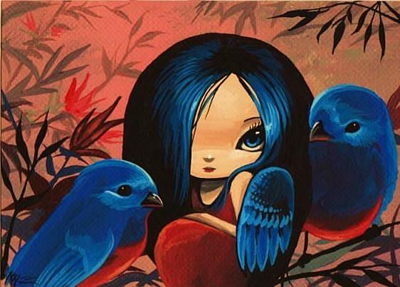 Art: Blue Birds by Artist Nico Niemi
