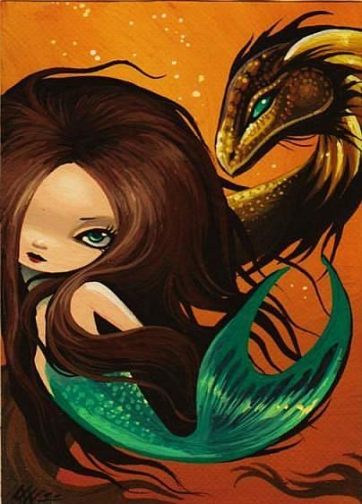 Art: Mermaid and Gold Seadragon by Artist Nico Niemi