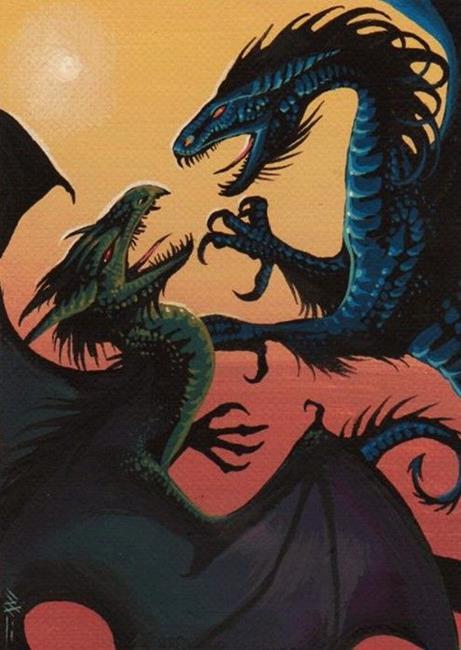 Art: Dragons Battle by Artist Nico Niemi