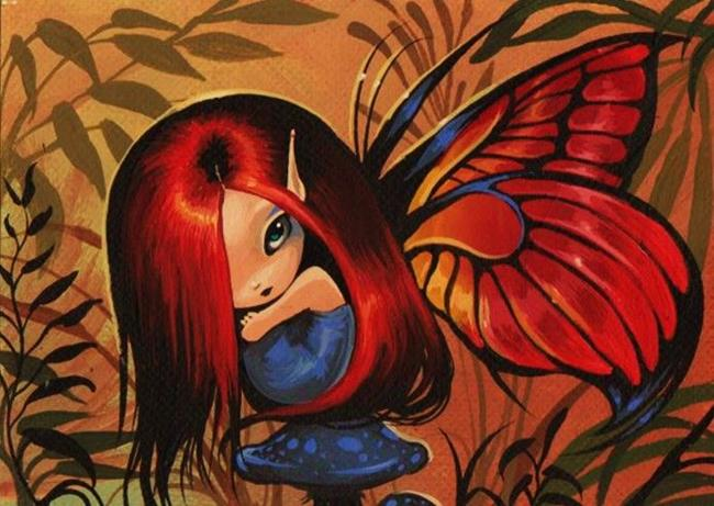 Art: Shy Mushroom Fairy by Artist Nico Niemi
