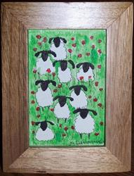 Art: Sheep Among the Poppies framed by Artist Nancy Denommee