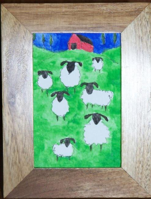 Art: Sheep with Red Barn framed by Artist Nancy Denommee
