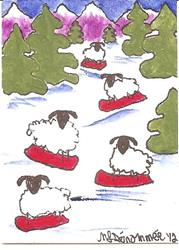 Art: Snowboarding Sheep SOLD by Artist Nancy Denommee